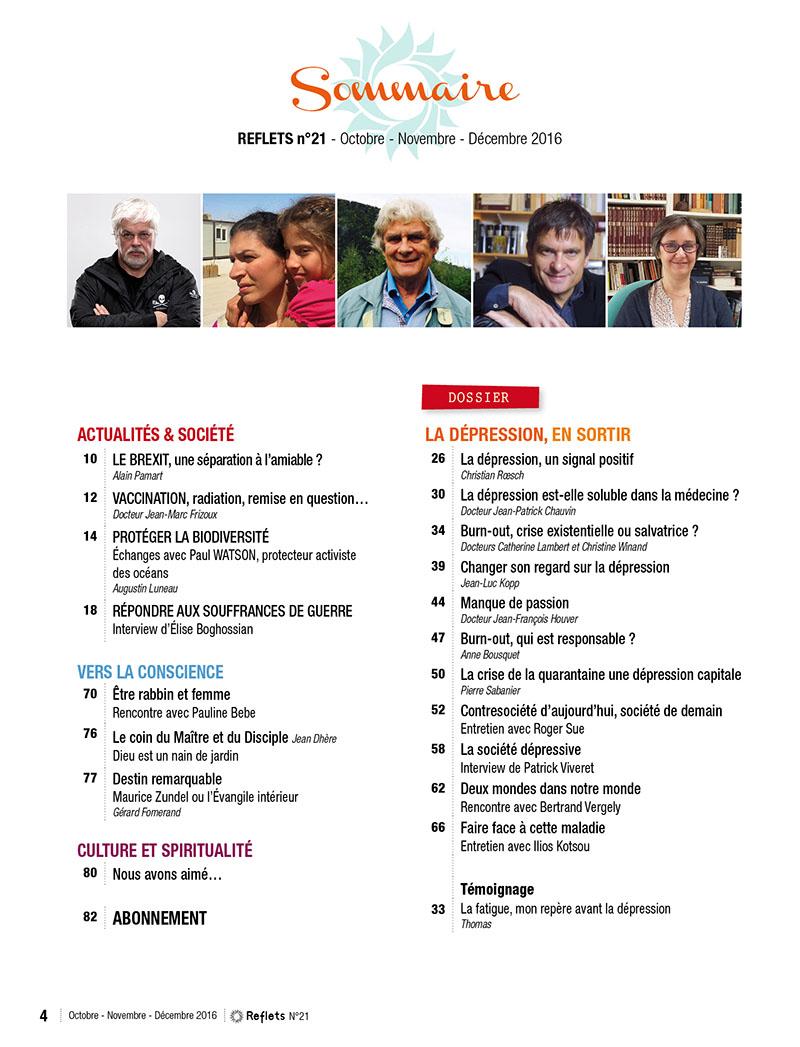 Sommaire Revue Reflets n°21