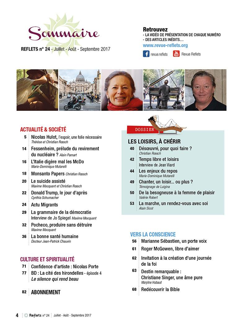 Sommaire Revue Reflets n°24