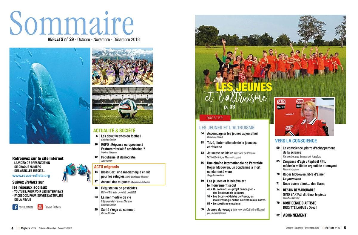 Sommaire Revue Reflets n°29