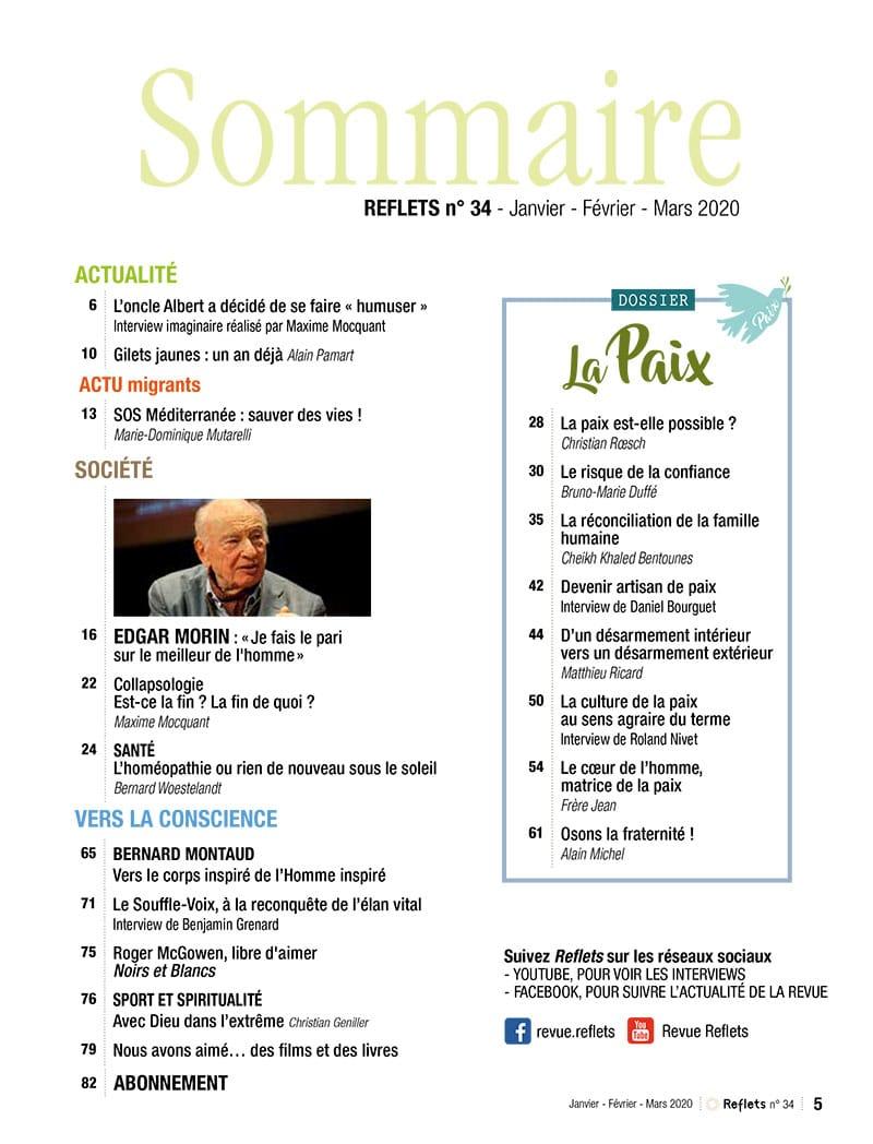 Sommaire Revue Reflets n°34