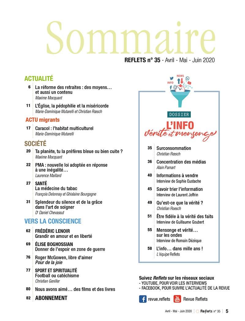 Sommaire Revue Reflets n°35