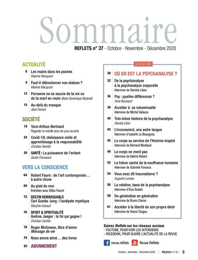Sommaire Revue Reflets n°37